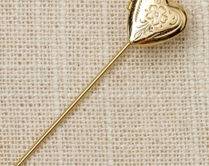 Gold Heart Stick Pin Unique Locket Vintage Stickpin 7R