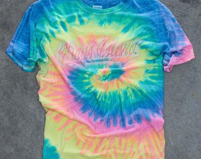 Vintage Tie-Dye King's Island Tee Shirt Size X-Large | 1990s Neon Rainbow Tshirt | Kings Island Ohio XL 7W