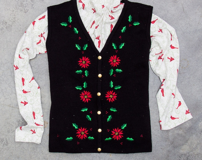 2 Piece Vintage Ugly Christmas Outfit Turtleneck + Sweater Vest | Winter Holiday Ugly Christmas Sweater Jumper 7CG