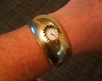 Great Mid Century Brass/Gold Cuff Wind Up Seiko Watch Bracelet