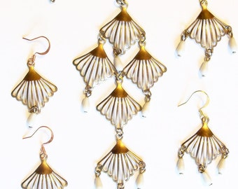 Restyled Vintage Necklace and 2 Pair of Earrings Copper Metal  with Milk Glass Drops Prom Everyday Gift Birthday Special Occasion Bride