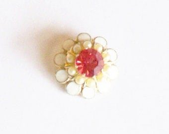Scatter Pin Brooch White Enamel Flower Red Rhinestone Faux Pearls Gold Tone Metal Gift for Her