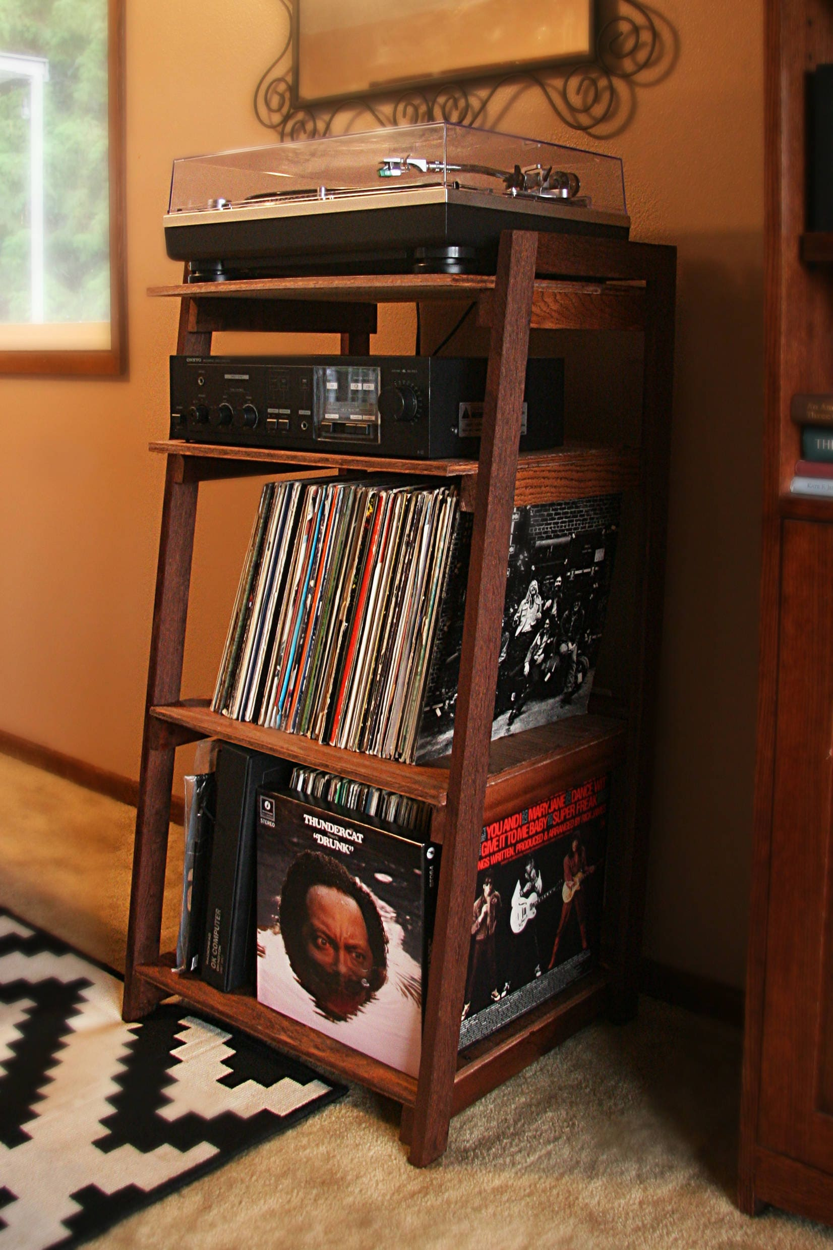 Vinyl Record Storage: Record Player Stand And Wooden Turntable Shelf Handmade With