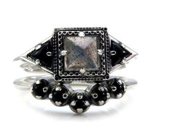 Labradorite Tomb Ring with Onyx Trillions and Onyx Chevron - Gothic Engagement Ring Set - Sterling Silver