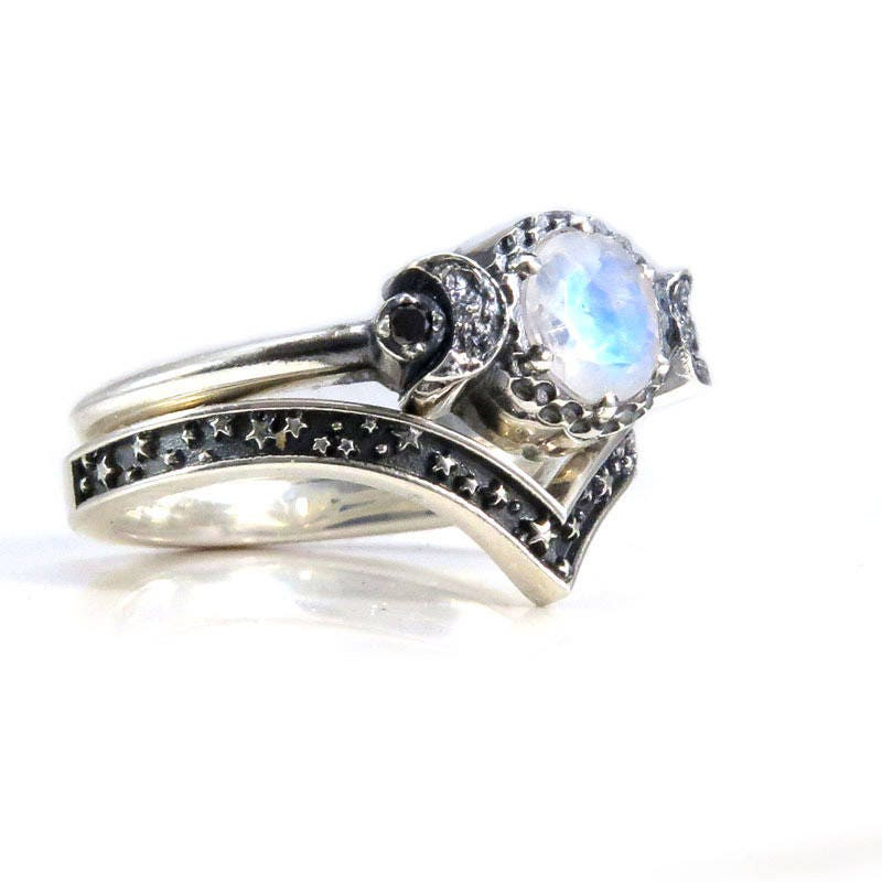 moonstone rings with stars - photo #17
