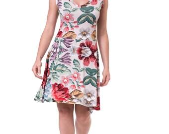 Colorful summer dress Flower women dress Exotic dress Knee length dress Flower print dress