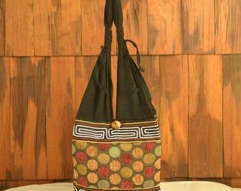 Thai Cotton Embroidered Shoulder Bag Purse Hippie Hobo Poka Dot AA3