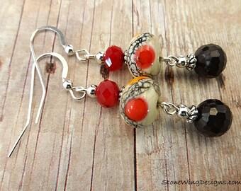Lampwork Earrings, Artisan Earrings, Black Onyx Earrings, Red and Black, Red and Orange, Eclectic Earrings, OOAK Earrings, Gift for Wife