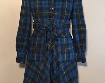 Vintage 70s Plaid Winter dress
