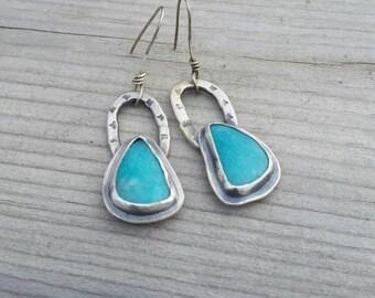 Handmade Horse-Shoe Shaped Amazonite Earrings, Sterling Silver Dangle and Rustic Style Amazonite Earrings