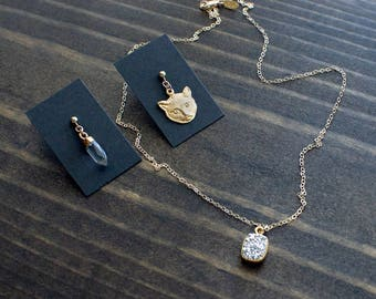 Crystal + Kitty + Druzy Set - Magical Cat Lover Jewelry Gift. Silver Druzy Necklace, Crystal Quartz Earring and Gold Cat Post Earring