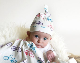 Baby Girl Bicycle Hat - Organic Baby Hat in Cruiser Bike in Pink, Purple and Teal 0-6 or 6-12 Months