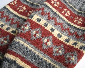 EU Size 36-38 - High Knee Hand Knitted Fair Isle Socks - 100% Natural Wool - Warm Autumn Winter Clothing