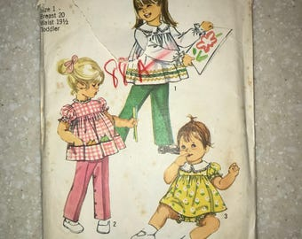 Vintage Simplicity Pattern 9090 Size 1 Toddler 1970 ADORABLE!!