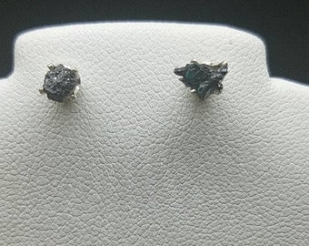 black diamond earrings, black diamond studs, raw black diamond, rough black diamond, diamond earrings, diamond studs, stud earrings, 5mm.925