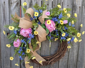 Wreath, Spring Pastel Colors Wreath, Pink Peonies, Yellow Daisies, Blue Hyasynth, Burlap Wreath, Front Door Wreath, Spring Wreaths