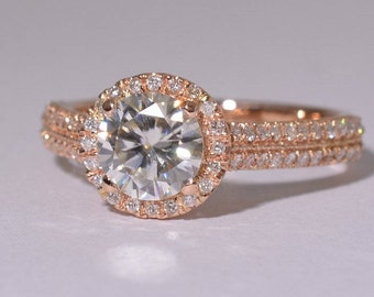 1 Ct Moissanite gold ring,  Rose gold engagement ring, diamonds engagement ring,  SKU Knife-Moissanite