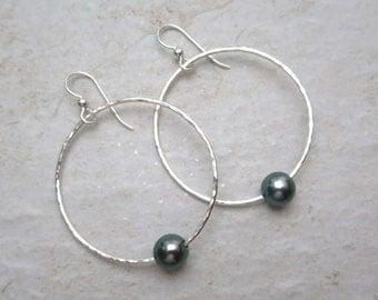 Tahitian Pearl Hoop Earrings, Sterling Silver, Genuine Pearls, Hammered Hoops, Hawaii Beach Jewelry, Christmas Gift Idea, Handmade Maui