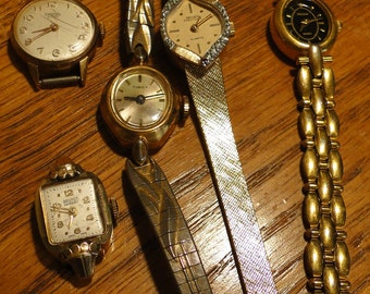 Lot of 5 Antique womens wrist watches steampunk repurpose design parts repair industrial