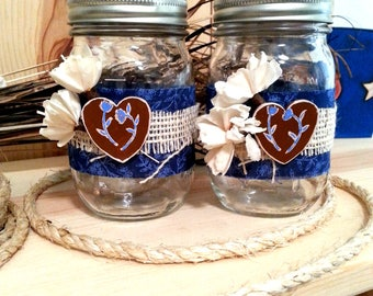 Decorated Mason Jar Set, Decorative Jars with Burlap, Blue Fabric and Hand Painted Wooden Hearts, Country Farmhouse Decor, Table Decor