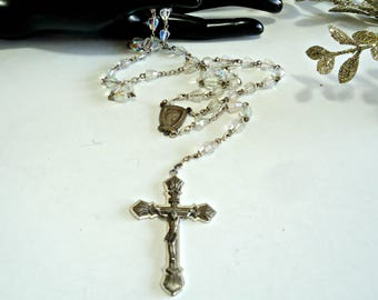 Rosary Crucifix Vintage Crystal Beads Cross