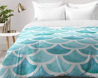 La Mer Turquoise Blue Sea Ocean Waves Theme Comforter Quilt Duvet, Unique Wedding Engagement Gift, Unique Housewarming Gift Bed Comforter