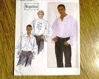 Men's Romantic PIRATE / Poet / Gothic Shirt - BEGOTTEN Fantasy Cosplay Gown - Chest (46 - 52) - UNCUT ff Sewing Pattern Simplicity 8615