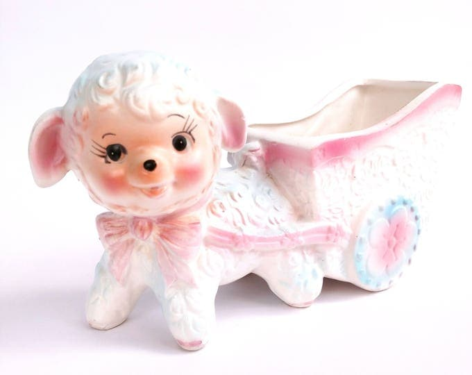 Vintage 1960's Inarco Ceramic Lamb Pulling Wagon Planter Container