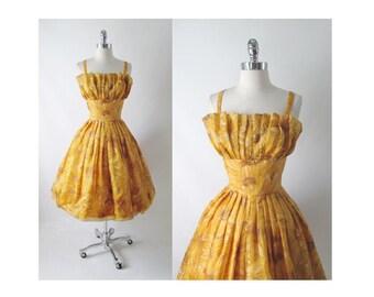 Vintage 60's / 50's Golden Flower Full Skirt Party Dress S