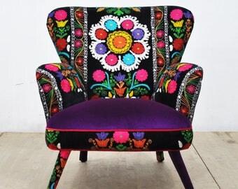 Suzani Armchair - purple love