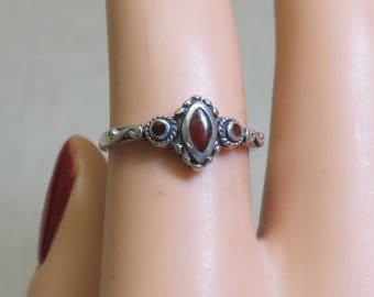 Sterling Silver Carnelian Victorian Style Ring, Size 6