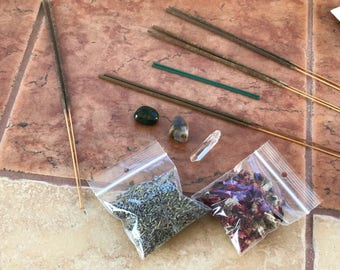 Wicca natural herbal and incense kit for rituals and meditation natural quartz bloodstone petrified wood gardenia incense sage & more