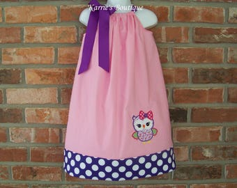 OWL Pillowcase Dress / Pink + Purple Polka Dots / Girly / 1st Birthday / Photo / Newborn / Infant / Baby/ Girl / Toddler/ Boutique Clothing