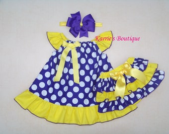 LSU Baby Outfit / Purple & Gold / Geaux Tigers / Football / LSU Kids / Game Day Dress / Ruffle Bloomers / Infant / Baby / Girl / Toddler