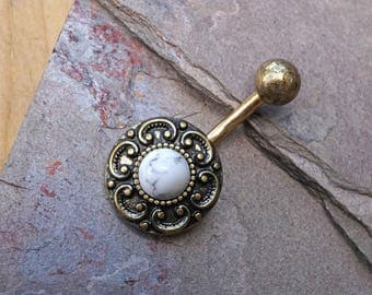 Gold Belly Button Ring White Turquoise Tribal Shield