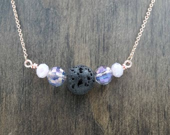 Black Lava Stone Essential Oil Diffuser Necklace Purple Aromatherapy Necklace