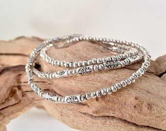 Silver Necklace, Silver Beaded Necklace or Bracelet