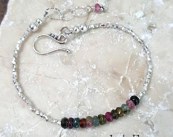 Tourmaline & Pure Silver Bracelet, Karen Hill Tribe Silver, Tourmaline Jewelry, Quality Gemstone, Fine Jewelry, October Birthstone, Gift