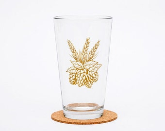 Hops Pint Glass - Cascade Hops - Glassware  - Beer Glass - Barware - Screen Printed - Made in USA