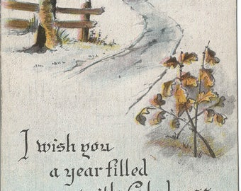 Water Color Winter Scene White Birch by Path to Cottage New Years Greetings Vintage Postcard in Mauve