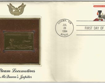 Steam Locomotives McQueen's Jupiter Gold Stamp Replica United States Postal Service Postal Commemorative Society 1994 First Day of Issue