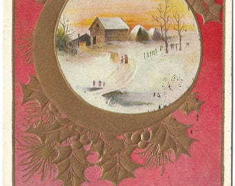 Ruby Red Background with Picture of Family Walking Home to Farm Copper Gild Frames the winter scene Merry Christmas Vintage Postcard