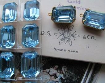 Vintage Swarovski Aquamarine Faceted Top Rectangle  Crystals