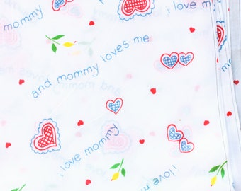 Mommy Loves Me lightweight flannel fabric on white with hearts . i love mommy material thin brushed cotton 1990s 90s 1980s 80s