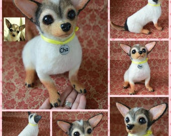 Custom Chihuahua Artist Needle Felted Dog Sculpture Memory pet Portrait Sculpture of your pet Dog replica stuffed dog Wool art toys