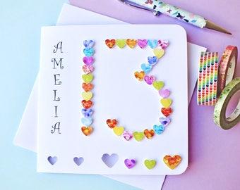 13th Birthday Card - Age 13 Card - Custom Personalised 13th Birthday - Age 13 - Boy - Girl - Colourful 13th Card - Daughter - Son - BHA13