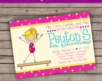 Bright Pink Purple Blue Yellow Gymnastics Tumble Birthday or Baby Shower PRINTED invitation w envelopes - personalized custom 5x7