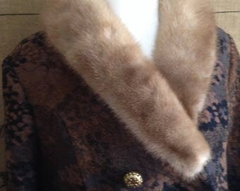 1960's coat, double breasted, mink collar winter coat