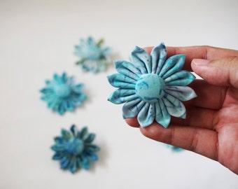Blue batik brooch