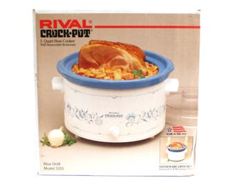 Rival Crock Pot 3355 5 Qt Crockpot Slow Cooker 1990s Vintage Small Appliances Blue Delft (gently used)